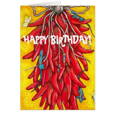 Beach Themed Fiesta Birthday Card Red Chili Chile Pepper Ristra