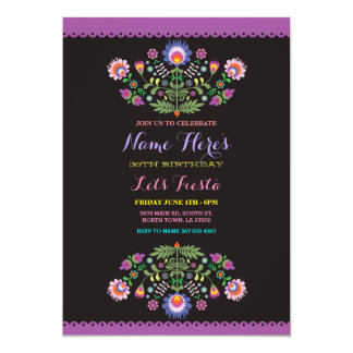Fiesta Birthday Floral Mexican Invitation