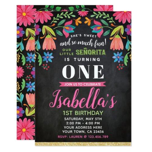 Fiesta Birthday Invitation Chalkboard Invitation