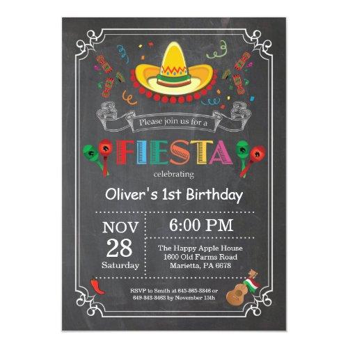 Fiesta Birthday Invitation Chalkboard Mexican