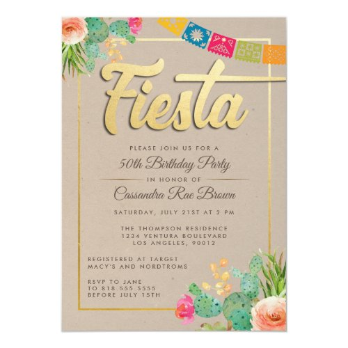 Fiesta Birthday Party Invitation