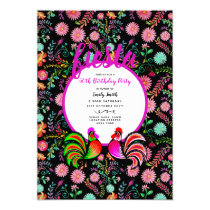 Fiesta BIRTHDAY Watercolor Folk Flowers Birds Invitation