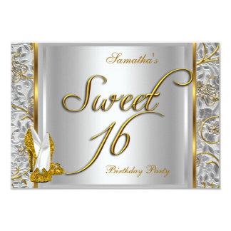 "Fiesta blanco de plata del dulce 16 del dulce invitación 3.5"" x 5"""