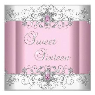 Fiesta blanco de plata rosado de la imagen del dia invitación