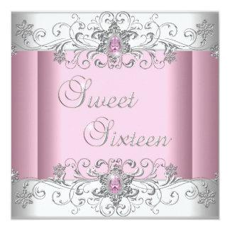 Fiesta blanco de plata rosado de la imagen del invitación 13,3 cm x 13,3cm