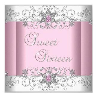 """Fiesta blanco de plata rosado de la imagen del invitación 5.25"""" x 5.25"""""""