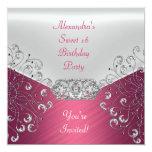 Fiesta blanco de plata rosado elegante del dulce invitación 13,3 cm x 13,3cm