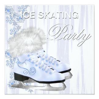 """Fiesta blanco del patinaje de hielo de los patines invitación 5.25"""" x 5.25"""""""