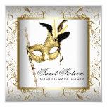 Fiesta blanco negro de la mascarada del dulce invitación