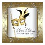 Fiesta blanco negro de la mascarada del dulce anuncio personalizado
