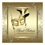 Fiesta blanco negro de la mascarada del dulce comunicados personalizados