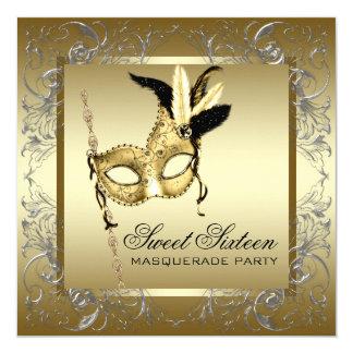Fiesta blanco negro de la mascarada del dulce invitación 13,3 cm x 13,3cm