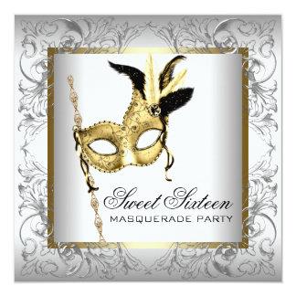 """Fiesta blanco negro de la mascarada del dulce invitación 5.25"""" x 5.25"""""""