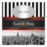 Fiesta blanco negro del dulce 16 de la raya P de B Invitación Personalizada