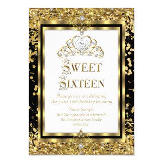 """Fiesta blanco negro del oro real de princesa Sweet Invitación 5"""" X 7"""""""