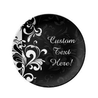 Fiesta blanco negro del remolino de la fuente platos de cerámica
