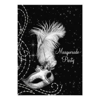 Fiesta blanco negro elegante de la mascarada invitación