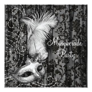 Fiesta blanco negro elegante de la mascarada invitación 13,3 cm x 13,3cm