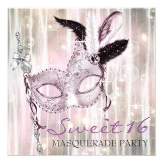 Fiesta blanco negro rosado de la mascarada del dul anuncio personalizado