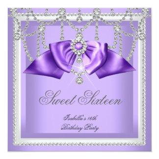 """Fiesta blanco púrpura 2F del diamante dieciséis Invitación 5.25"""" X 5.25"""""""