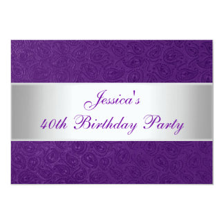 """Fiesta blanco púrpura grabado en relieve elegante invitación 5"""" x 7"""""""