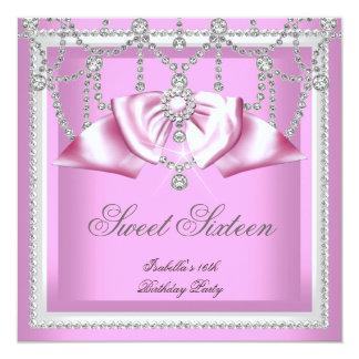 """Fiesta blanco rosado 2F del diamante dieciséis del Invitación 5.25"""" X 5.25"""""""