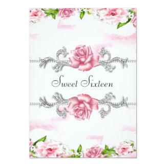 Fiesta blanco rosado bonito del dulce dieciséis de invitación 12,7 x 17,8 cm