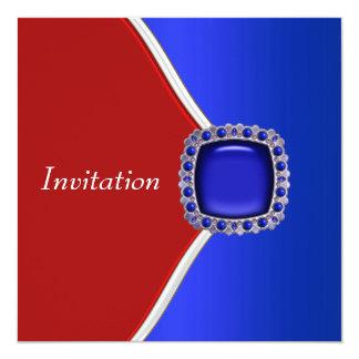 Fiesta blanco y azul rojo patriótico invitacion personalizada