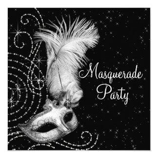 """Fiesta blanco y negro elegante de la mascarada invitación 5.25"""" x 5.25"""""""