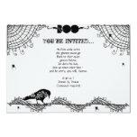 """Fiesta blanco y negro gótico elegante de Halloween Invitación 5"""" X 7"""""""