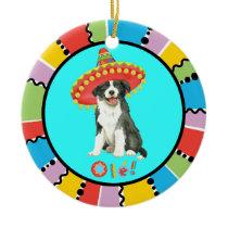 Fiesta Border Collie Ceramic Ornament
