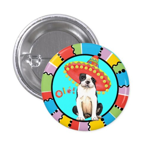 Fiesta Boston Terrier Buttons
