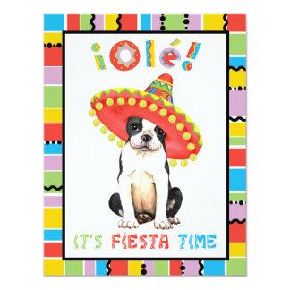 "Fiesta Boston Terrier Invitación 4.25"" X 5.5"""