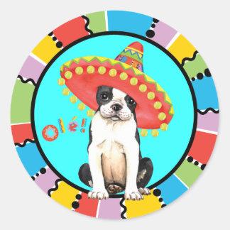 Fiesta Boston Terrier Pegatina Redonda
