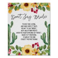 Fiesta Bridal Shower Don't Say Bride Game Sign