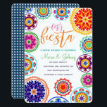 """Fiesta Bridal Shower Invitation<br><div class=""""desc"""">A colorful,  fun and whimsical suzani color folk art floral flower pattern for this fiesta Mexican themed bridal invitation</div>"""