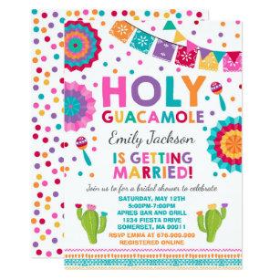fiesta bridal shower invitation holy guacamole