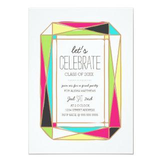 Fiesta brillante del graduado de la gema invitación 12,7 x 17,8 cm