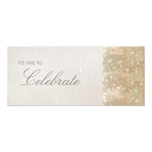 """Fiesta brillante elegante y festivo de las invitación 4"""" x 9.25"""""""