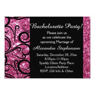 """Fiesta brillante rosado de Bachelorette del Invitación 4.5"""" X 6.25"""""""