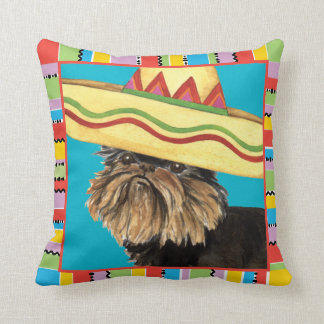 Fiesta Brussels Griffon Throw Pillow