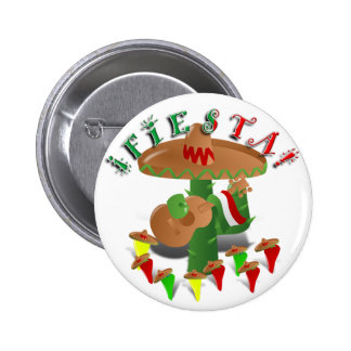Fiesta Cactus w/Sombrero & Guitar 2 Inch Round Button