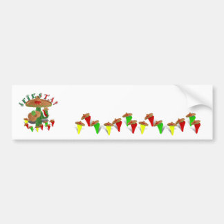 Fiesta Cactus w/Sombrero & Guitar Bumper Sticker