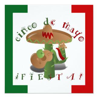 """Fiesta Cactus w/Sombrero & Guitar 5.25"""" Square Invitation Card"""