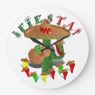 Fiesta Cactus w/Sombrero & Guitar Large Clock