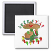 Fiesta Cactus w/Sombrero & Guitar Magnet