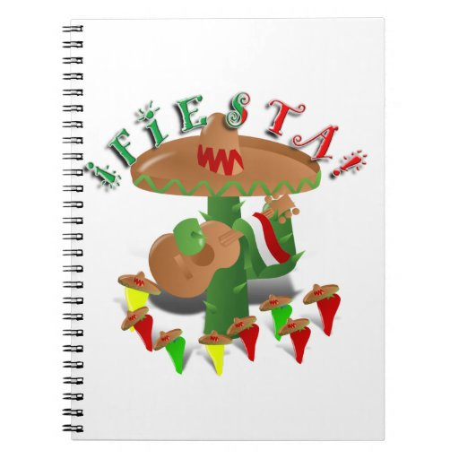 Fiesta Cactus w/Sombrero & Guitar Notebook