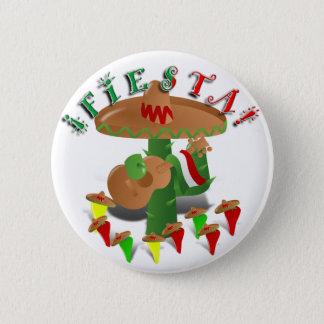 Fiesta Cactus w/Sombrero & Guitar Pinback Button