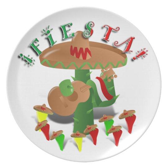 Fiesta Cactus w/Sombrero & Guitar Plate
