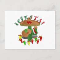 Fiesta Cactus w/Sombrero & Guitar Postcards